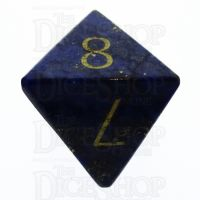 TDSO Lapis Lazuli with Engraved Numbers 16mm Precious Gem D8 Dice