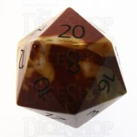 TDSO Mookaite with Engraved Numbers 16mm Precious Gem D20 Dice