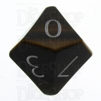 TDSO Tiger Eye Gold with Engraved Numbers 16mm Precious Gem D10 Dice