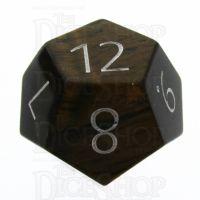 TDSO Tiger Eye Gold with Engraved Numbers 16mm Precious Gem D12 Dice
