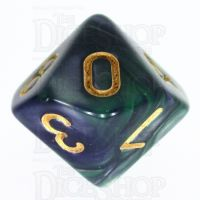 TDSO Duel Blue & Green D10 Dice