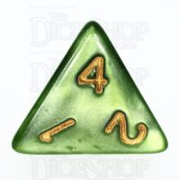 TDSO Pearl Verdant Green & Gold D4 Dice