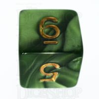 TDSO Pearl Verdant Green & Gold D6 Dice