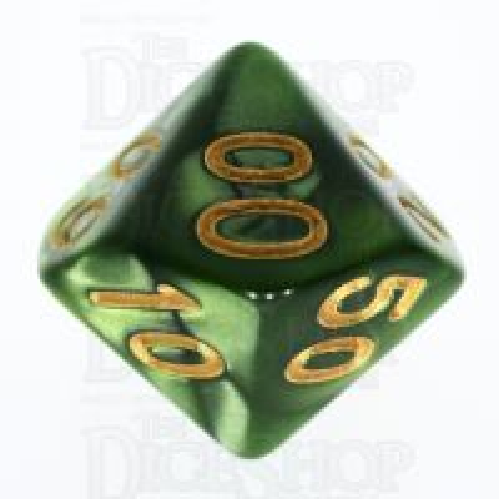 TDSO Pearl Verdant Green & Gold Percentile Dice
