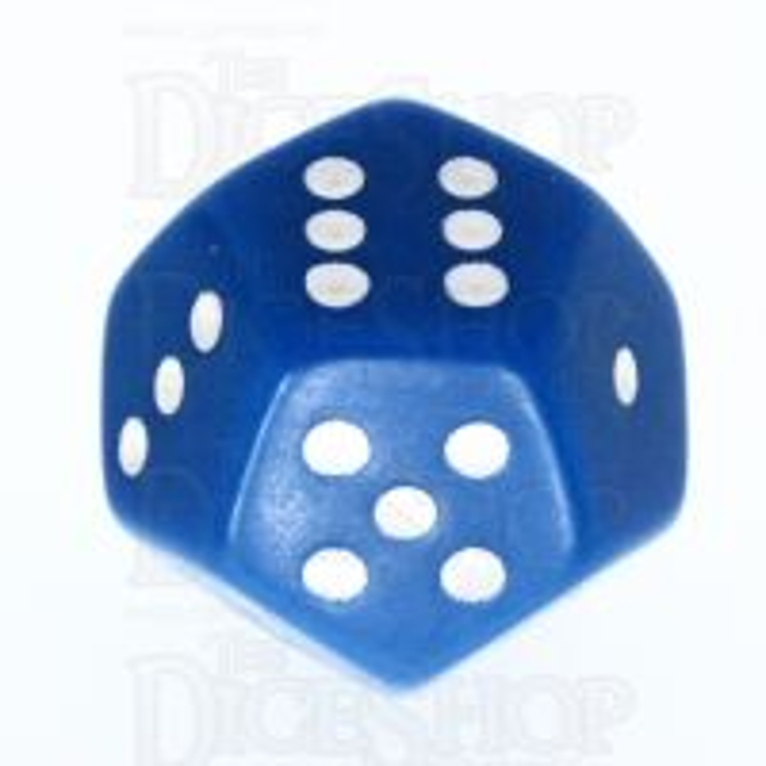 Koplow Opaque Blue & White 12 Sided D6 Spot Dice
