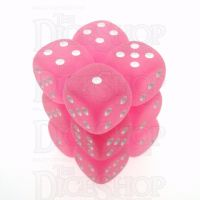Chessex Frosted Pink & White 12 x D6 Dice Set