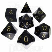 TDSO Goldstone Blue with Engraved Numbers 16mm Precious Gem 7 Dice Polyset