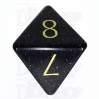 TDSO Goldstone Blue with Engraved Numbers 16mm Precious Gem D8 Dice
