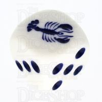 Koplow White & Blue Lobster Logo D6 Spot Dice