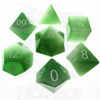 TDSO Cats Eye Light Green with Engraved Numbers 16mm Precious Gem 7 Dice Polyset