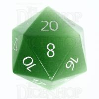TDSO Cats Eye Light Green with Engraved Numbers 16mm Precious Gem D20 Dice