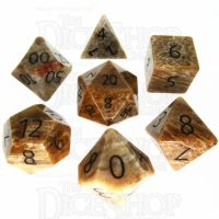 TDSO Fossilised Coral with Engraved Numbers 16mm Precious Gem 7 Dice Polyset