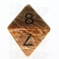 TDSO Fossilised Coral with Engraved Numbers 16mm Precious Gem D8 Dice
