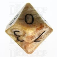 TDSO Fossilised Coral with Engraved Numbers 16mm Precious Gem D10 Dice