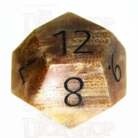 TDSO Fossilised Coral with Engraved Numbers 16mm Precious Gem D12 Dice
