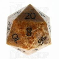 TDSO Fossilised Coral with Engraved Numbers 16mm Precious Gem D20 Dice
