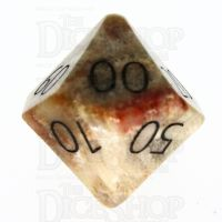 TDSO Fossilised Coral with Engraved Numbers 16mm Precious Gem Percentile Dice