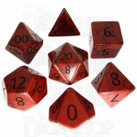 TDSO Turquoise Red Synthetic with Engraved Numbers 16mm Precious Gem 7 Dice Polyset