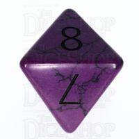 TDSO Turquoise Purple Synthetic with Engraved Numbers 16mm Precious Gem D8 Dice
