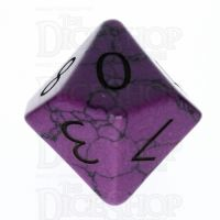 TDSO Turquoise Purple Synthetic with Engraved Numbers 16mm Precious Gem D10 Dice