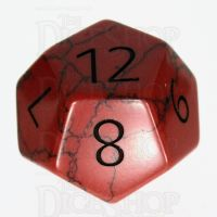 TDSO Turquoise Red Synthetic with Engraved Numbers 16mm Precious Gem D12 Dice