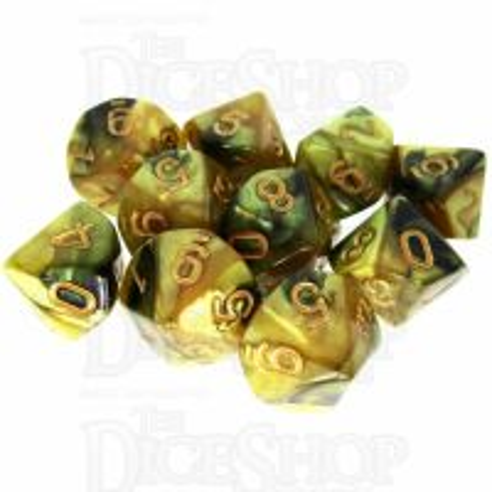 TDSO Duel Black & Gold 10 x D10 Dice Set