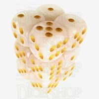 TDSO Pearl White & Yellow 12 x D6 Dice Set