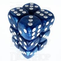 TDSO Pearl Dark Blue & White 12 x D6 Dice Set