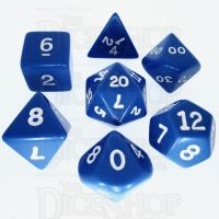 Koplow Opaque Blue & White 7 Dice Polyset