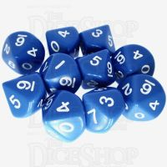Koplow Opaque Blue & White 10 x D10 Dice Set