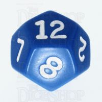 Koplow Opaque Blue & White D12 Dice