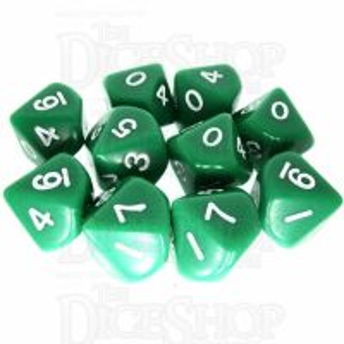 Koplow Opaque Green & White 10 x D10 Dice Set
