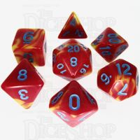 TDSO Duel Red & Yellow with Blue 7 Dice Polyset - Discontinued