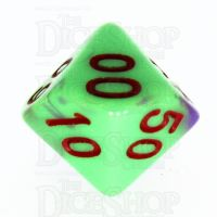 TDSO Duel Green & Purple with Red Percentile Dice - Discontinued