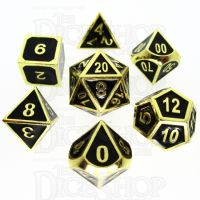 TDSO Metal Fire Forge Gold & Black Enamel 7 Dice Polyset