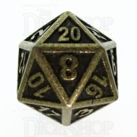 TDSO Metal Fire Forge Ancient Brass D20 Dice