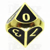 TDSO Metal Fire Forge Gold & Black Enamel D10 Dice