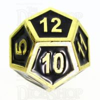 TDSO Metal Fire Forge Gold & Black Enamel D12 Dice