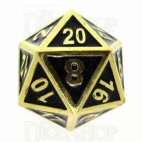 TDSO Metal Fire Forge Gold & Black Enamel D20 Dice
