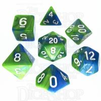 TDSO Duel Turquoise Blue & Pistachio Green 7 Dice Polyset