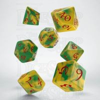 Q Workshop Classic RPG Opaque Yellow Green & Red 7 Dice Polyset