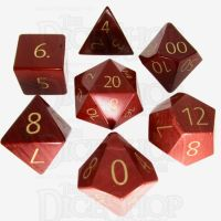 TDSO Jasper Red with Engraved Numbers Precious Gem 16mm 7 Dice Polyset