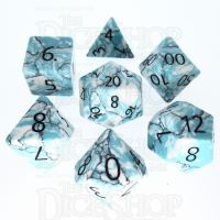 TDSO Turquoise Blue & White Synthetic with Engraved Numbers 16mm Precious Gem 7 Dice Polyset