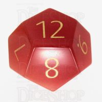 TDSO Cats Eye Red with Engraved Numbers 16mm Precious Gem D12 Dice