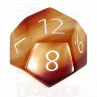 TDSO Carnelian with Engraved Numbers 16mm Precious Gem D12 Dice