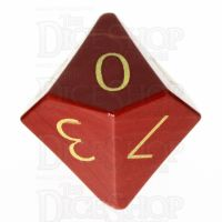 TDSO Jasper Red with Engraved Numbers 16mm Precious Gem D10 Dice