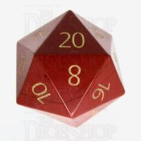 TDSO Jasper Red with Engraved Numbers 16mm Precious Gem D20 Dice