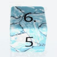 TDSO Turquoise Blue & White Synthetic with Engraved Numbers 16mm Precious Gem D6 Dice