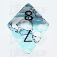 TDSO Turquoise Blue & White Synthetic with Engraved Numbers 16mm Precious Gem D8 Dice