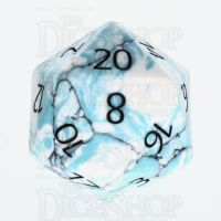TDSO Turquoise Blue & White Synthetic with Engraved Numbers 16mm Precious Gem D20 Dice